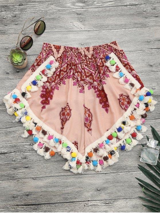 Shorts De Praia Estampado Com Pompons Coloridos - Multicor S