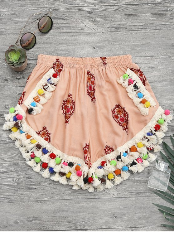 latest High Rise Pom Pom Beach Cover Up Shorts - CANDY CORAL M