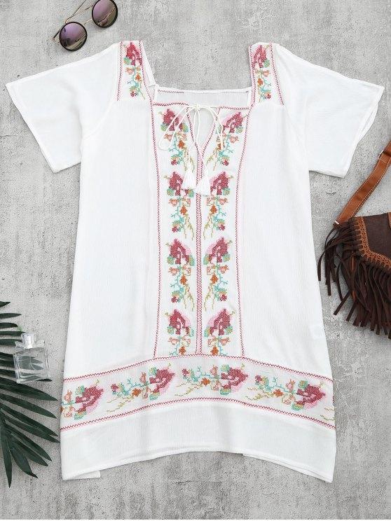 شال فستان تونك مطرز شاطئ - أبيض L