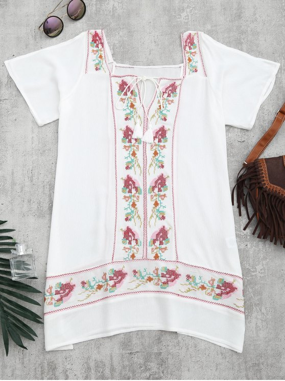 fashion Embroidered Beach Tunic Dress Cover Up - WHITE M