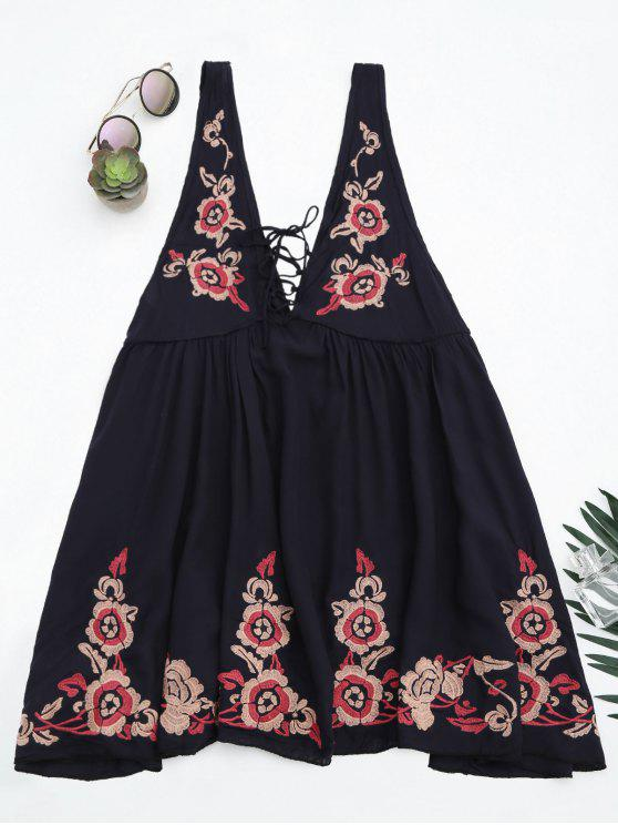 unique Embroidered Tank Dress Beach Cover Up - PURPLISH BLUE M