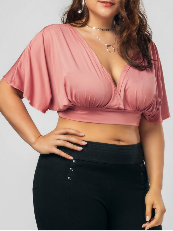 women Plus Size Bowknot Cropped Top - RUSSET-RED 4XL