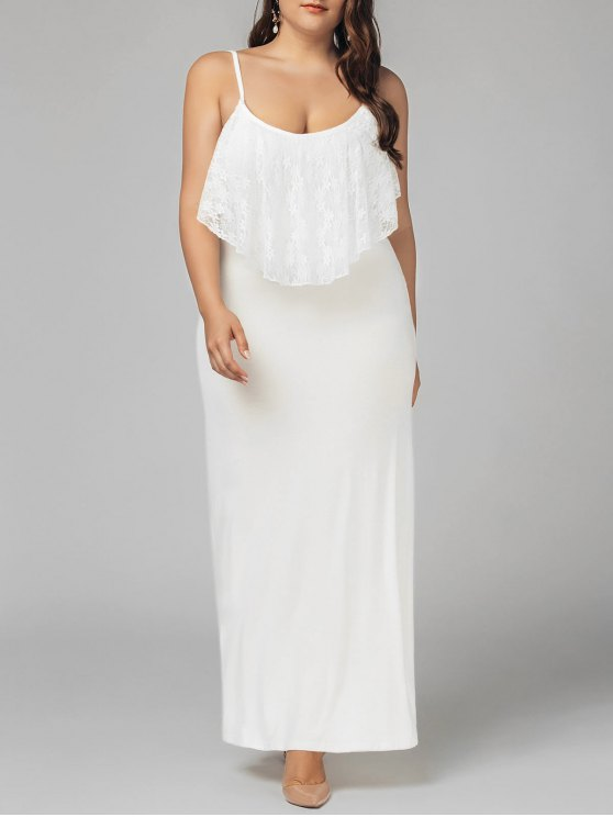 shop Plus Size Lace Panel Ruffles Prom Dress - WHITE 4XL