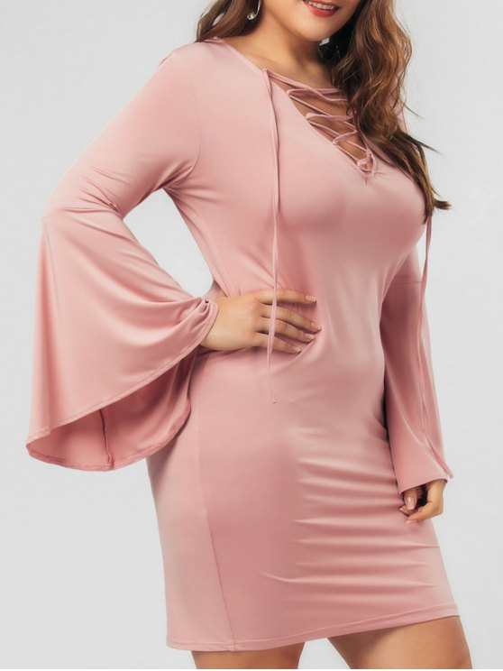 fashion Flare Sleeve Plus Size Lace Up Bodycon Dress - PINK 3XL