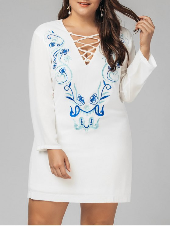 buy Plus Size Criss Cross Embroidered Dress - WHITE 4XL