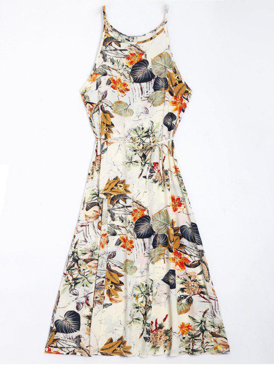 chic Floral Leaves Print High Slit Maxi Dress - FLORAL L