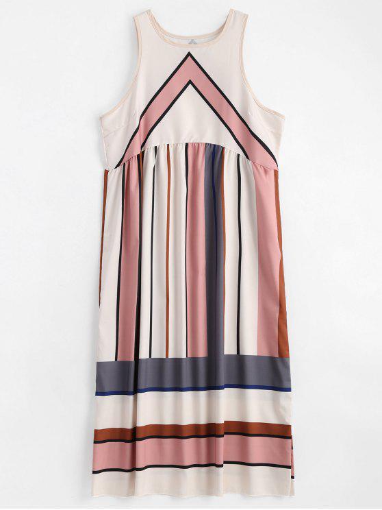 فستان دائرة الرقبة مخطط بلا أكمام - متعدد L