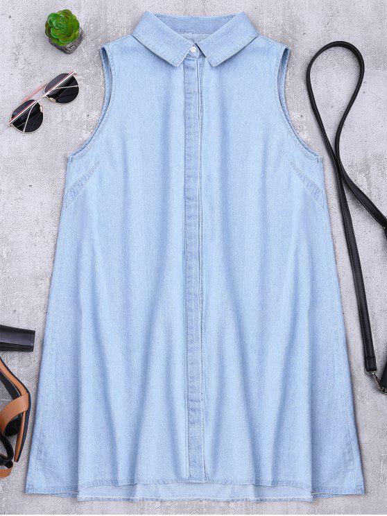 Vestido sin mangas de la camisa del cambio del dril de algodón - Azul Claro L