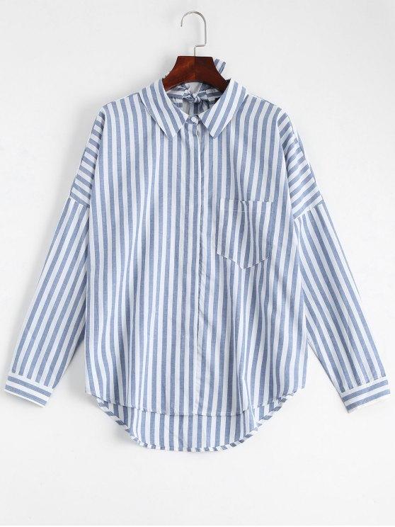 Bowknot Stripes Shirt mit Tasche - Streifen  L