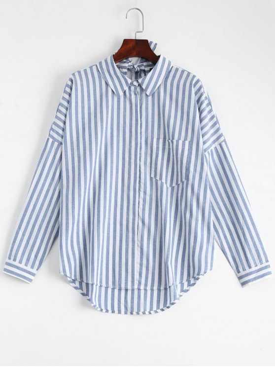 sale Bowknot Stripes Shirt with Pocket - STRIPE L