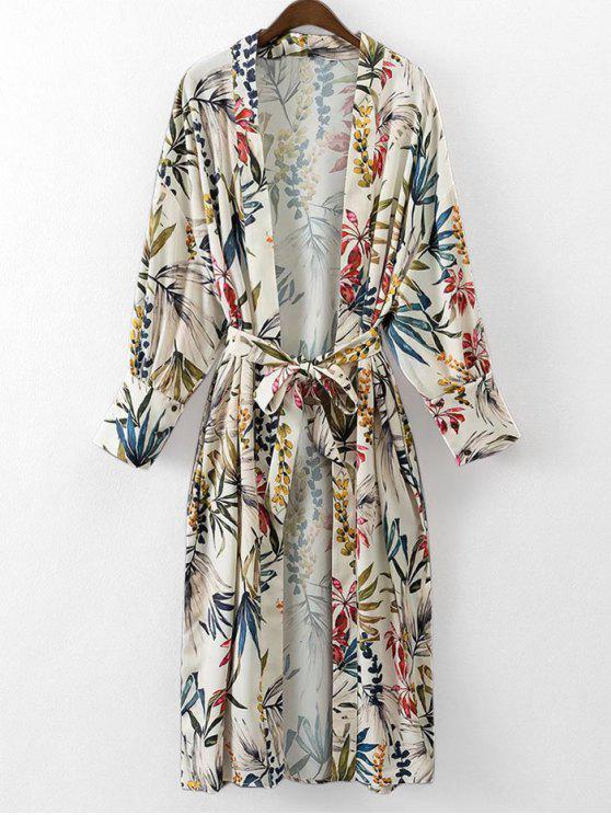 Blouse Kimono Florale à Ceinture - Floral L