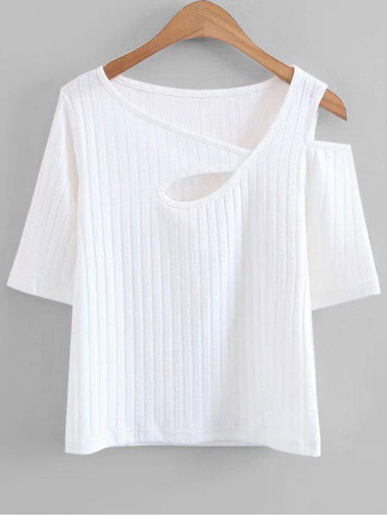 Gestrickte Ausschnitt Kaltes Schulteroberteil - Weiß L