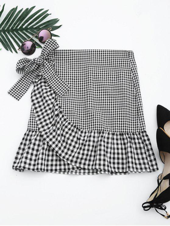 new Ruffle Hem Belted Checked Skirt - CHECKED L