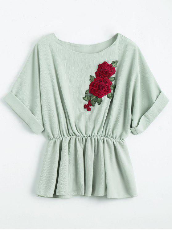 hot Floral Patched Boat Neck Blouse - PALE GREEN ONE SIZE