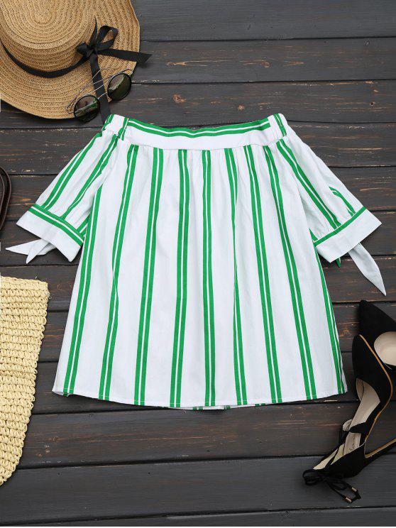 latest Off The Shoulder Striped Blouse - WHITE M