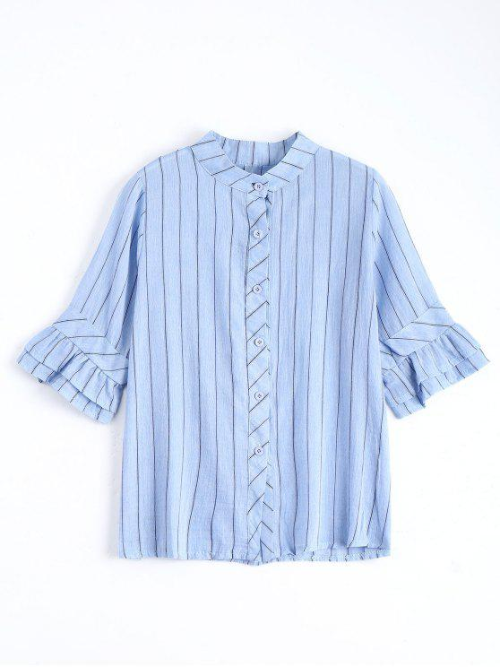 chic Button Up Flare Sleeve Striped Blouse - LIGHT BLUE ONE SIZE