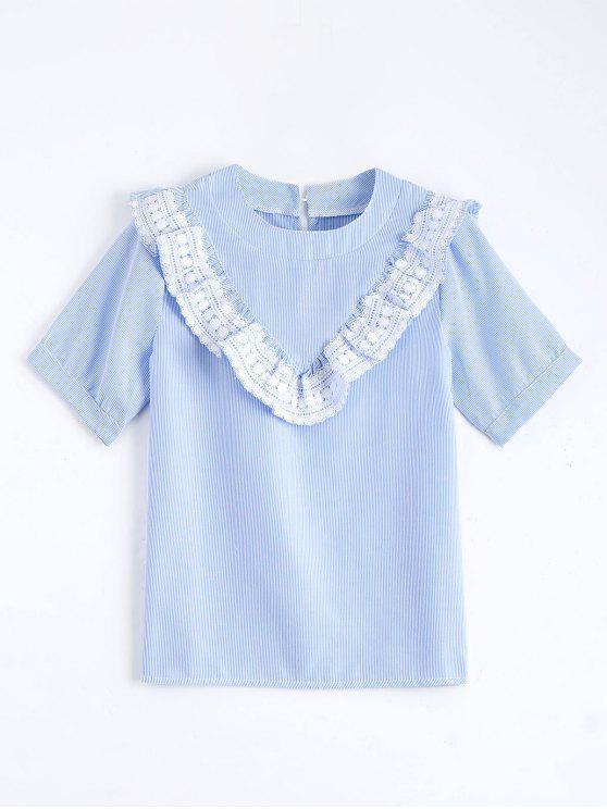 Blouse plissée et rayée avec décoration de detelle et de falbalas - Bleu Léger  M