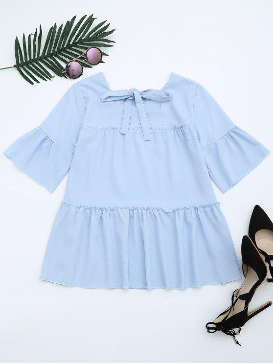 affordable Flare Sleeve Ruffle Trim Bowtie Blouse - LIGHT BLUE ONE SIZE