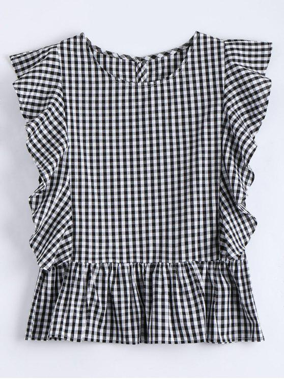 womens Ruffle Hem Checked Blouse - CHECKED S