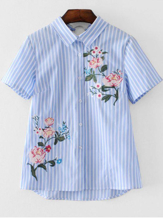 new Short Sleeve Stripes Floral Embroidered Shirt - STRIPE S