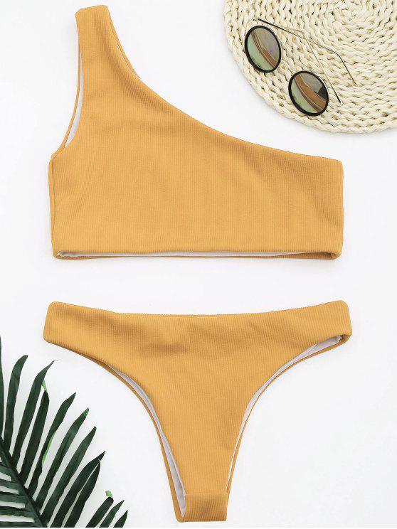 lady Ribbed Texture One Shoulder Bikini - EARTHY S