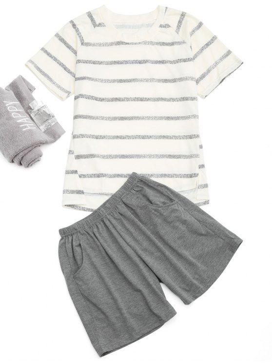 T-shirt rayé à manches courtes et short de poche Raglan - Blanc Cassé XL