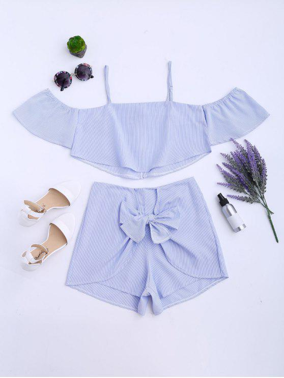 women Striped Cami Top and Shorts Suit - STRIPE L