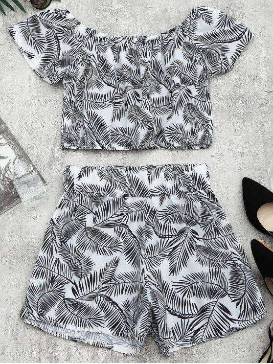 lady Leaves Print Top and Shorts Set - WHITE AND BLACK L