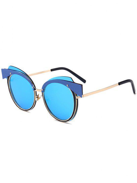 Lunettes de soleil à lunette à oeil Cat Eye Metal Splicing Frame - Or + Bleu Glacieux