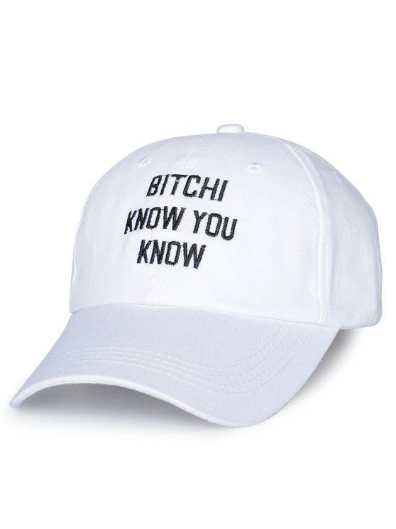 Cappellino da baseball ricamato a lettere regolabile - Bianco
