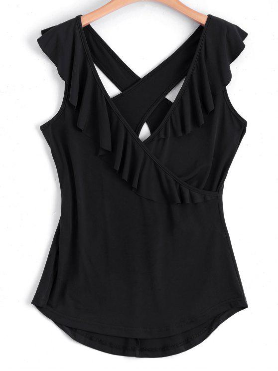 shop Ruffled Criss Cross Tank Top - BLACK S