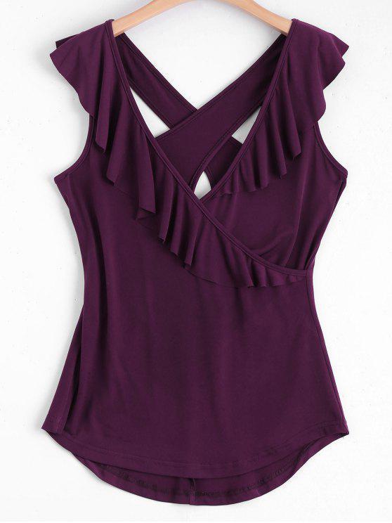 Cuello cruzado Criss Tank Top - Vino Rojo XL