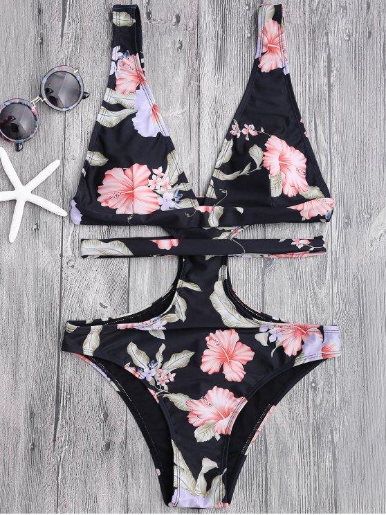 online Floral Cut Out Plunging Bandage Swimwear - BLACK L