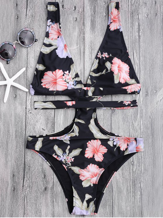 outfits Floral Cut Out Plunging Bandage Swimwear - BLACK S