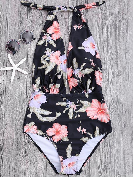 shops Plunge Floral Backless Padded Swimwear - BLACK L
