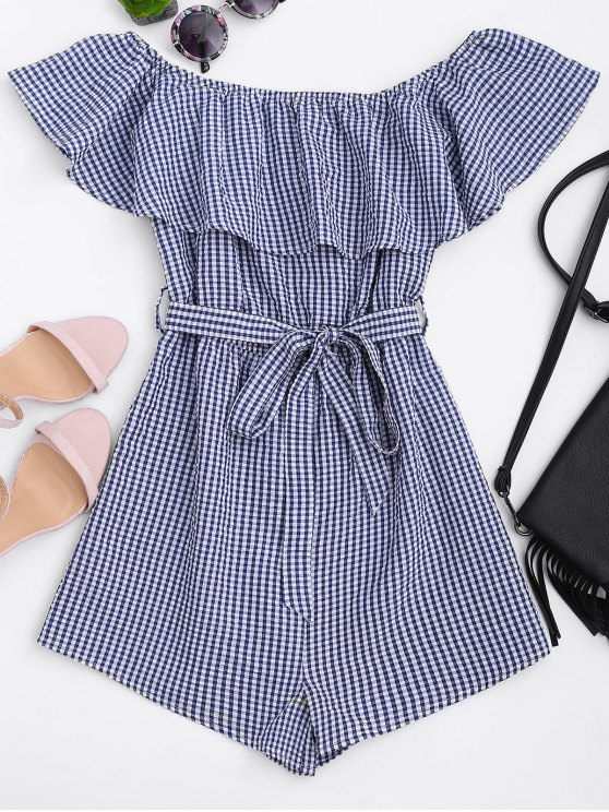 latest Ruffles Belted Off Shoulder Romper - CHECKED S