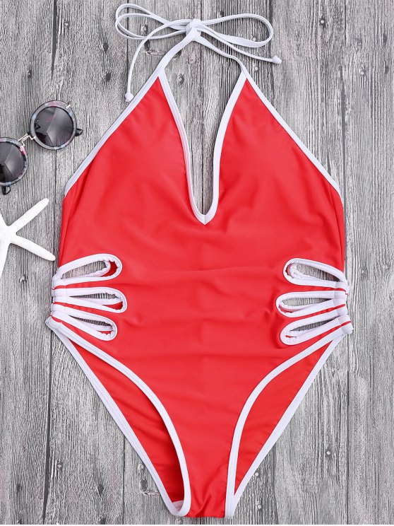 affordable Halter Cut Out High Leg Swimwear - RED M