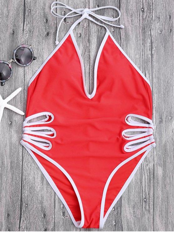 womens Halter Cut Out High Leg Swimwear - RED S