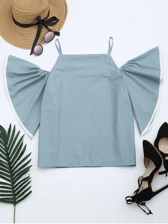 chic Flare Sleeve Cami Blouse - BLUE GRAY ONE SIZE