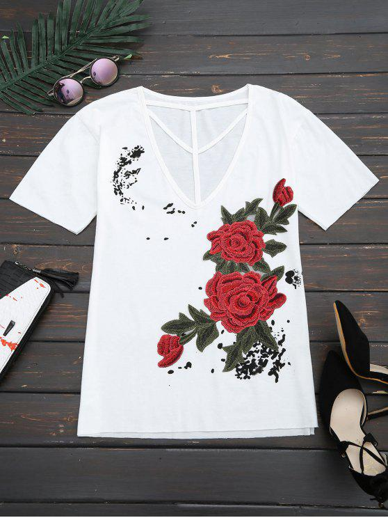 Blumen Geflicktes Ausgeschnittenes Drop Schulter T-Shirt - Weiß S