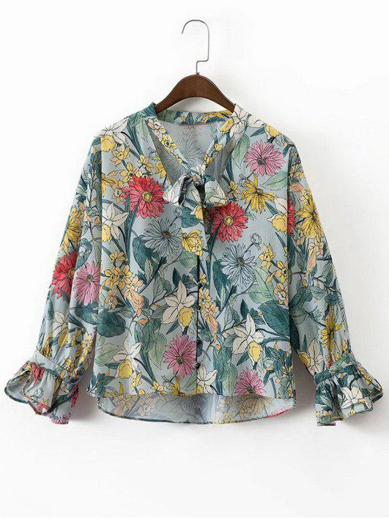 women Bow Tie Floral Button Up Blouse - FLORAL S