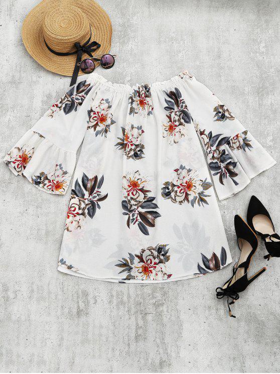 fancy Floral Print Flare Sleeve Shift Dress - FLORAL L