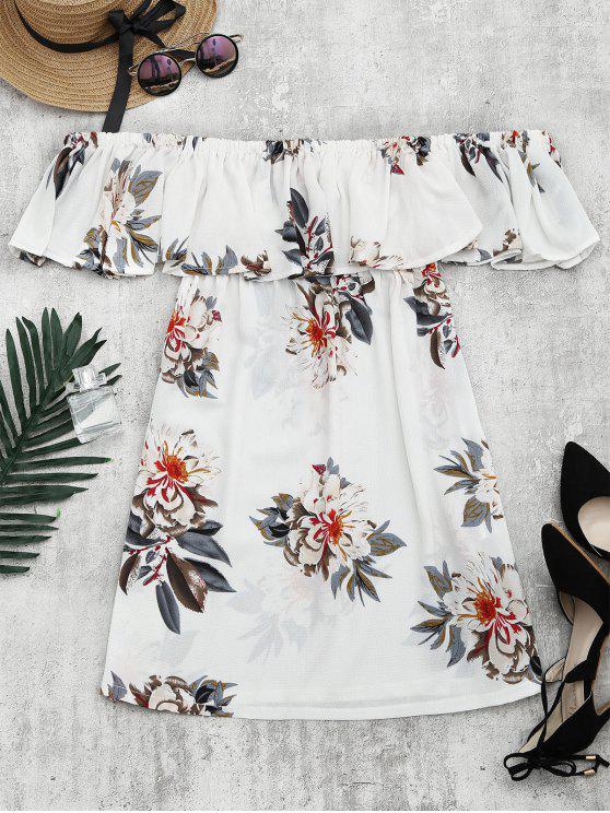 Robe Droite Imprimé Floral Ourlet à Volants - Blanc S