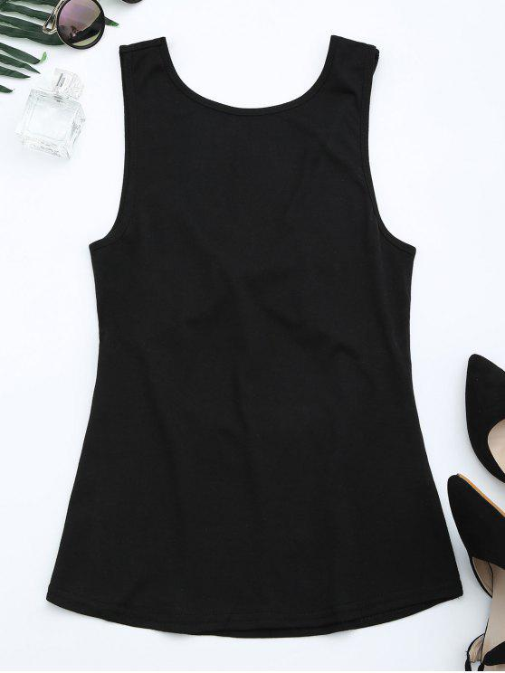 latest Cut Out Twist Back Tank Top - BLACK M