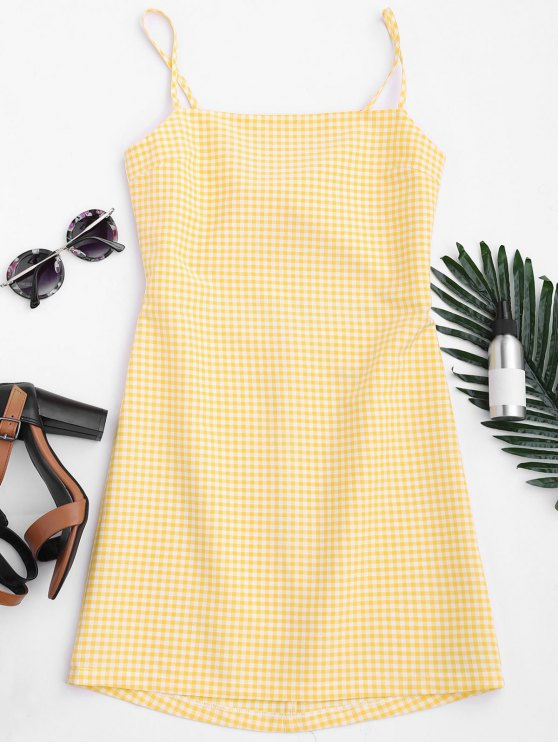 latest Checked Bowknot Cut Out Mini Dress - CHECKED M