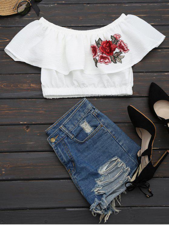 بلوزة مقصرة مرقع بالأزهار كشكش - أبيض L