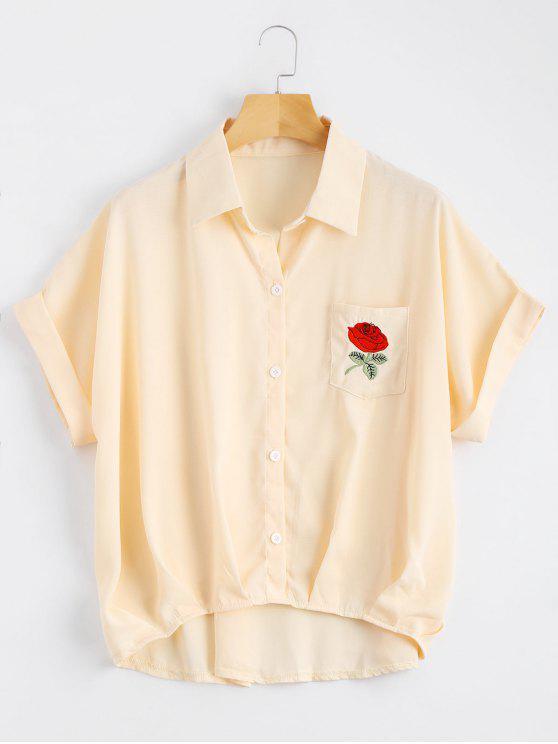 Botón hasta la blusa de bolsillo floral remendada - Albaricoque Única Talla