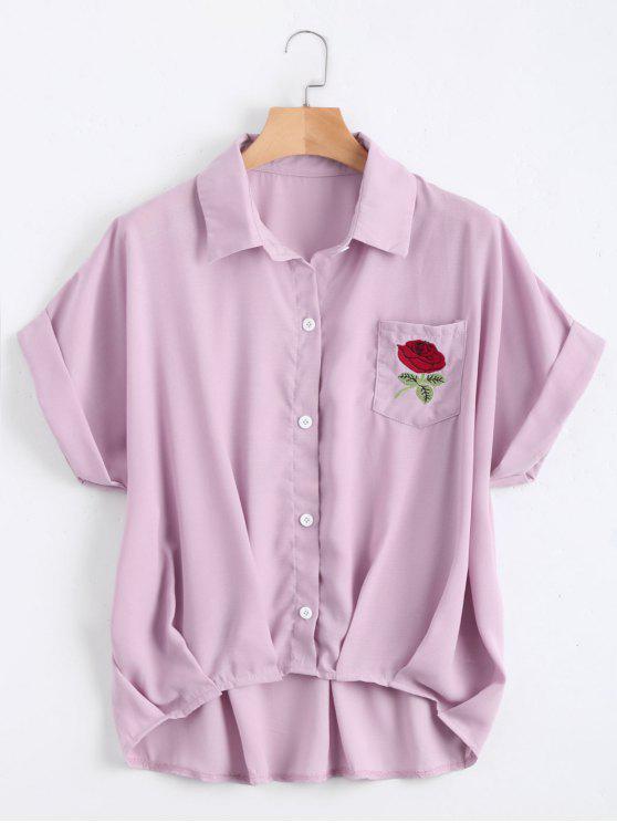 Botón hasta la blusa de bolsillo floral remendada - Morado Claro Única Talla