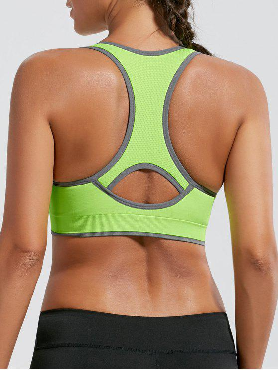 shop Paded Racerback High Impact Sports Bra - BRIGHT YELLOW M