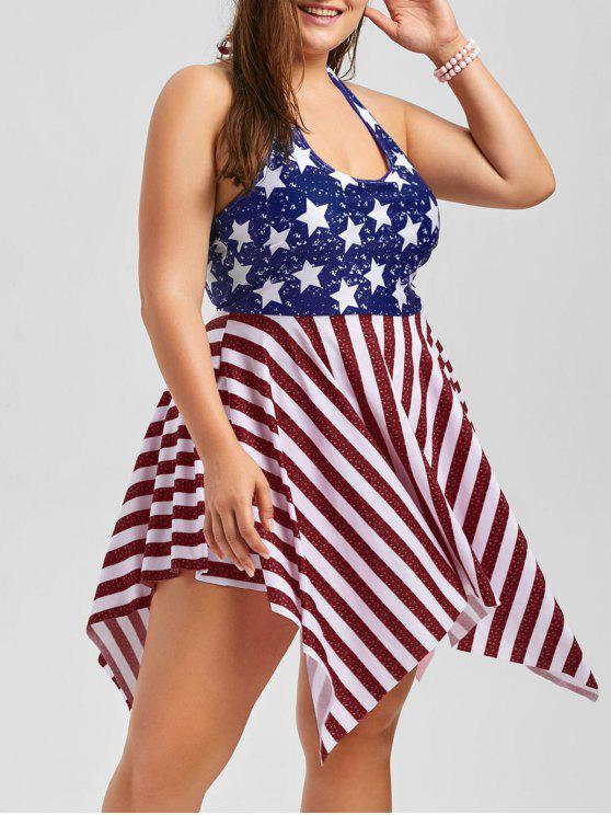 Plus Size Patriotic American Flag Dressy Tankini DEEP RED